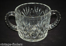 Vntage Pressed Glass Sugar Bowl Double Handle w Diamond Pineapple Fan Design