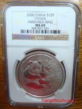 2000 1oz China panda mirrored ring silver coin NGC MS69