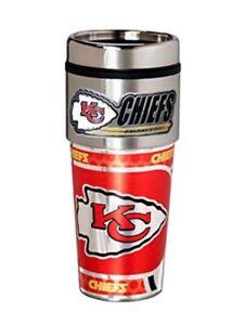 Kansas City Chiefs 16 oz Stainless Steel Travel Tumbler/Mug with Logo emblem.