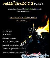 Diablo 3 Ps4/Xbox One - SCHWARZER - Mönch/Monk - 150 Portale 100% Unsterblich