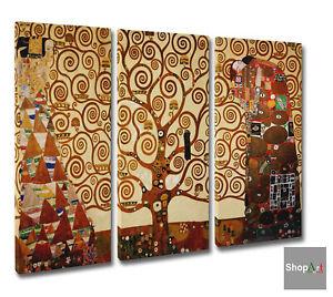 🌳Quadro Klimt 3 pz L'Albero Della Vita Stampa su Tela Canvas Vernice Pennellate