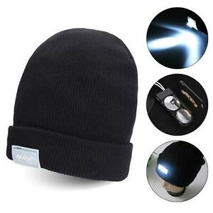 Hat Head Light High Powered Beanie LED Lamp with USB Button Cell Battery Unisex