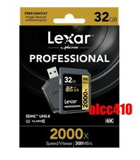 Lexar Professional 32GB SD SDHC 2000x Memory Card UHS-II 300MB/s U3 4K w/Reader