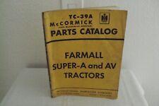McCormick Farmall Super-A and AV Tractors Parts Catalog