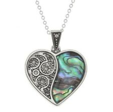 Tide Jewellery - Inlaid Paua Shell Love Heart Pendant, Necklace, Beautiful TJ135