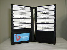Genuine Leather Credit Card Holder Wallet 19 Card Slot  & 1 ID Window