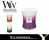 Woodwick Candle Trilogy Jars Scented 10oz 12 Different Fragrances Free P & P