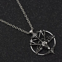 Vintage Goth BOHO Goat Head Skull Pentagram Necklace Charm Jewelry Fashion Chain