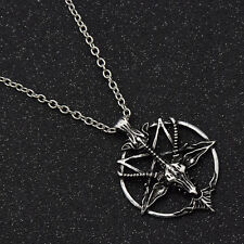 Vintage Goth Boho Goat Head Skull Pentagram Necklace Charm Jewelry Fashion Chain