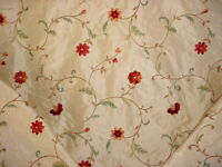 4-3/4Y Lee Jofa Lodore Embroidery Ruby Embroidered Silk Floral Upholstery Fabric