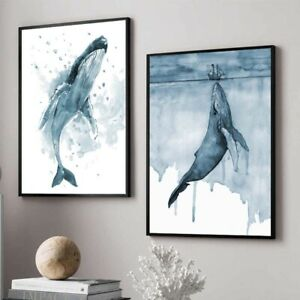 Watercolor Whale Animal Poster Printing Wall Art Pictures Nordic Home Decor Blue