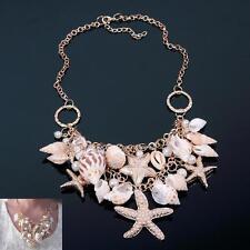 Sweet Chunky Gold Tone Sea Shell Starfish Pearl Bib Statement Necklace SFUS