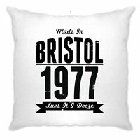 Birthday Cushion Cover Made In Bristol, England 1977 & Motto Slogan Gift Idea