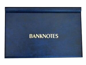 BLUE BANKNOTE BOOK FOLDER ALBUM NOTE BANKNOTES NOTES / 11X19cm - 20 pages