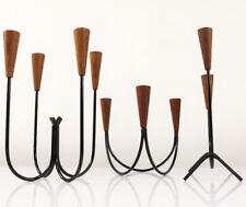 3 Kerzen Halter Ständer Leuchter Teak Holz String Design Denmark 60er 70er Jahre