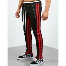 Men's Casual Sport Long Pant Jogger Sweatpants Stripe Fitness Fashion Trousers