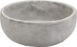 MyGift 8 Inch Decorative Minimalist Round Grey Cement Succulent Planter Bowl