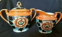 Lusterware Tashiro Shoten Hand Painted Sugar Bowl & Creamer Japan