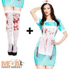 Zombie Bloody Nurse + Stockings Ladies Fancy Dress Halloween Womens Costume New