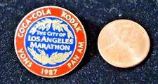 VINTAGE 1987 LA LOS ANGELES MARATHON PIN PINBACK COCA COLA KODAK VONS PAN AM