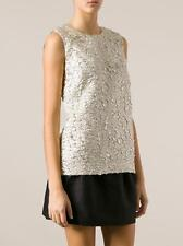 Dolce & Gabbana Silver Gold Embossed Top Size:40 IT Retail $1,045 NEW