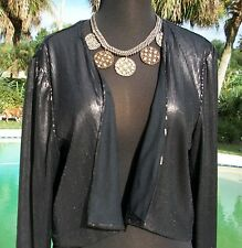 Cache Black Sequin Top Jacket Shrug New Size L  Metallic Kissed Lined $108 NWT