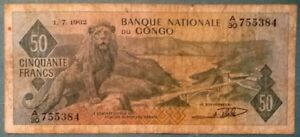 CONGO 50 FRANCS NOTE ISSUED 01.07. 1962, P 5, LION
