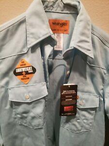 Wrangler Women's FR HRC2 Flame Resistant Blue Western Work Shirt Size XL Beige