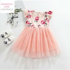 NEW Size 4-5 Years Girls Dress Pretty Pink Rose Flutter Sleeve Tulle Dress