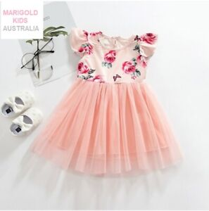 size 2-3 years new girls dress pretty pink rose flutter sleeve tulle dress