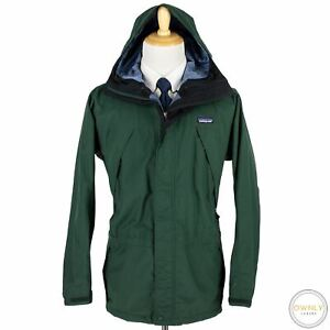 Patagonia Pine Green Nylon Mesh Lined Multi-Pkt Hooded Windbreaker Jacket M
