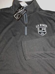 NEW MENS LARGE GREY/BLACK NHL LA LOS ANGELES KINGS 1/4 ZIP PULLOVER SWEATER
