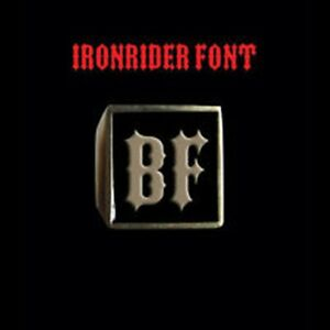 Solid Bronze BF Motorcycle Club Letter biker Ring Ironrider font Custom size
