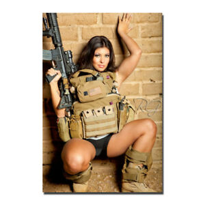 Hot Sexy Model Girl with Guns Silk Canvas Poster Print 13x20 32x48''