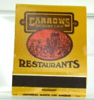 Vintage Carrows Restaurant Matchbook Business Closed