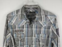 Buckle Black Label No 048 Gray Plaid Snap Shirt Men's Sz Small Slim Fit Western
