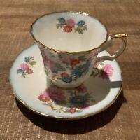 Vintage ELIZABETHAN Fine Bone China Teacup & Saucer England Floral Pink Blue