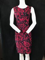 """PHASE EIGHT Sleeveless Red & Black Floral Print Knee Length Dress Chest 36"""""""