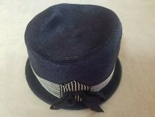 Vintage Women's Navy Hat for Dress/Church ~ Made in Usa ~ Size 22 ~ Guc