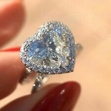 14k White Gold 3.20 Ct Heart Shaped Diamond Solitaire Engagement Ring