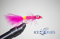 ICE FLIES. Streamer fly, Dog nobbler, Pink. Rubber legs. Size 2, - 10 (3-pack)