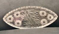 "ABP  Cut Glass Pickle Dish: Floral & Leaves Boat Shape 8.75"""