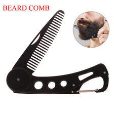 Mens womens beauty handmade folding pocket clip hair moustache beard comb HF
