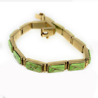 GORGEOUS Navajo 14K Gold Gaspeite Link Bracelet