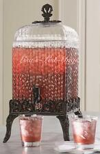New in Box Glass Beverage Dispenser Fancy Iron Base & Topper 2 Gallon Beautiful!