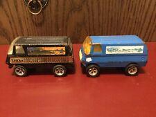 Vintage Tonka Black And Blue Lot Of 2 Custom Desert Scene Tiny Vans #55450 1970s