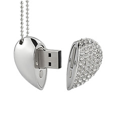 Shooo 8GB Crystal Loving Heart Shape Jewelry USB Flash Drive Memory Stick with