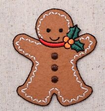 Large Gingerbread Man - Christmas/Holly - Iron on Applique/Embroidered Patch