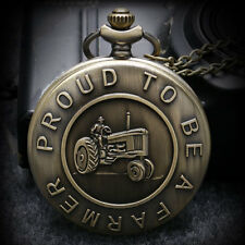 Steampunk Proud To Be A Farmer Necklace Bronze Quartz Pocket Watch Antique Gift