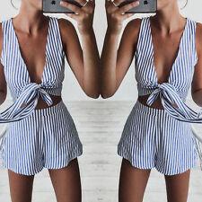 Women Stripe Print Two piece Jumpsuit Romper Summer Beach Halter V-Neck Playsuit